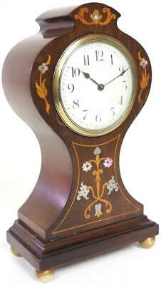 Incredible French 8 Day Mantel Clock Solid Mahogany Wood Balloon Mantle Clock