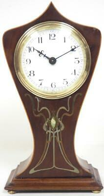 Art Nouveau French 8 Day Mantel Clock Solid Mahogany Wood Tulip Mantle Clock