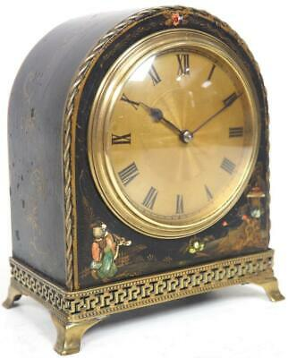 Chinoiserie French 8 Day Mantel Clock Solid Lacquered Arched Top Mantle Clock