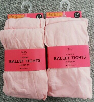 m&s girls ballet tights pink tights uk 11-12 years 4 pairs 40 denier RRP £10 #13