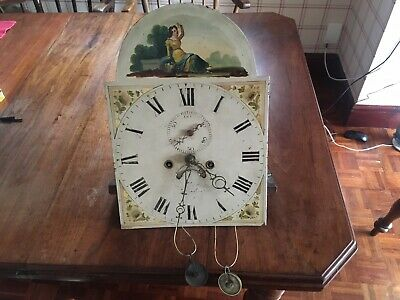 Antique 8 Day Longcase Clock Movement And Dial 16inch By 12 Inch.