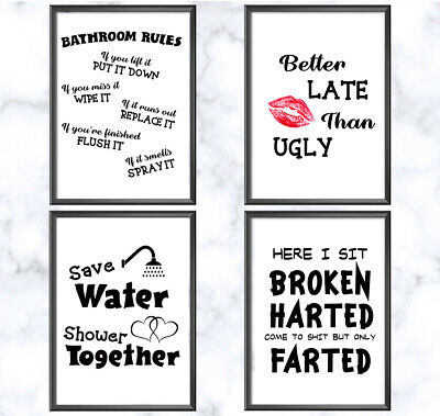 Bathroom Prints Wall Art Posters Quality Toilet Funny Pictures Minimalist Style
