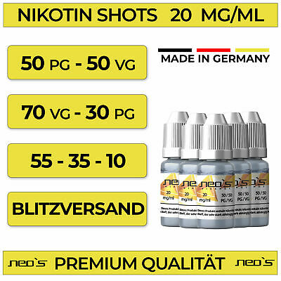Nikotin Shots 20mg 10 30 50 120x 10ml Shot Base für e Liquid 50/50 70/30 NEOS