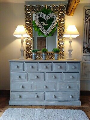 French, grey, rustic, distressed sideboard/dresser/chest of drawers/multi drawer