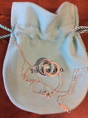 Tiffany & Co 1837 Sterling Silver Interlocking Circles Pendant Necklace 16''