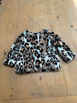 Next Girls Faux Fur Animal Print Coat Size 2-3 Years Perfect Condition