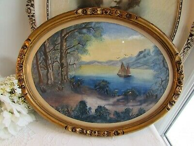 Superb Antique French  Oval Framed Water Colour Painting. Signed And Dated 1928