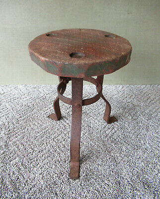 Antique Milking Stool, Primitive Wood Seat Wrought Iron Legs Stand, Green Paint