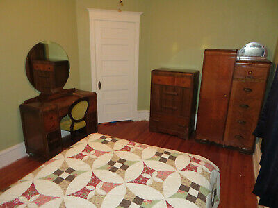 Depression Era Modern Art Deco Waterfall Full Size Bedroom Set Vintage Furniture