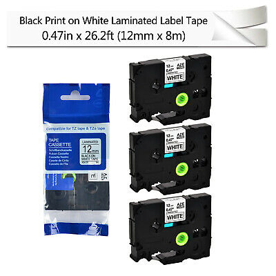 12 PACK Brother P-Touch TZe-231 BLACK ON WHITE Label Tape Pouch 012502625711 OEM