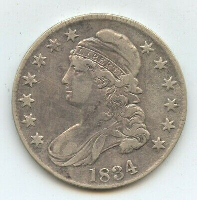 1834 Bust 50C VF-XF cleaned (#10941)