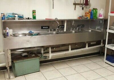 4 bay stainless steel commercial sink for restaurant with faucets and greasetrap