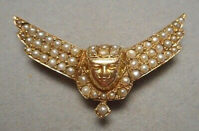 Antique Egyptian Revival Winged Pharaoh Head Brooch Pin 14K Y Gold & Seed Pearl