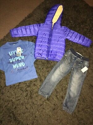 Boys Age 4-5 Years Coat Plus Jeans And Long Sleeved Top Brand New