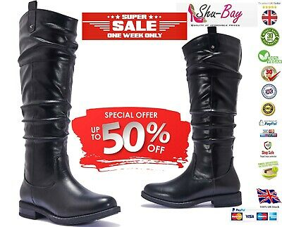 Womens Vegan Leather Comfy Knee Calf Slouch Boot | Slouchy Low Heel Boots Shoes