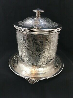 Antique England Silver Plate Biscuit Box Hawksworth Eyre & Co. Old Sheffield