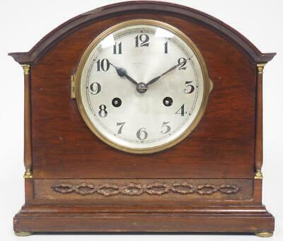 Antique Mahogany Arch Top Mantel Clock English Striking 8 Day Mantle Clock C1920