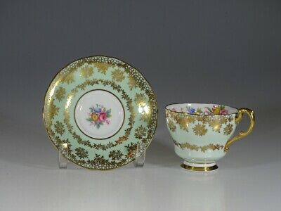 Paragon Pastel Green with Gold Chintz Tea Cup and Saucer, England c. 1939-48