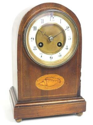 Antique Mahogany Inlaid Mantel Clock Arched Top Striking 8 Day Mantle Clock 1900