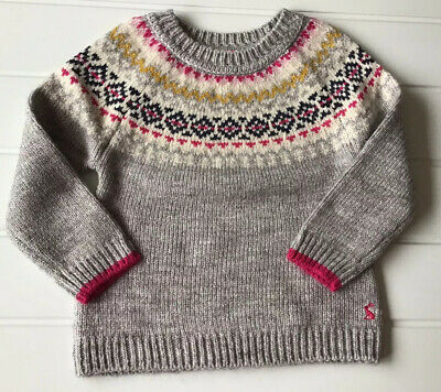 Joules Girls Age 5 Years Orkney Grey Knit Fair Isle Style Jumper Good Condition