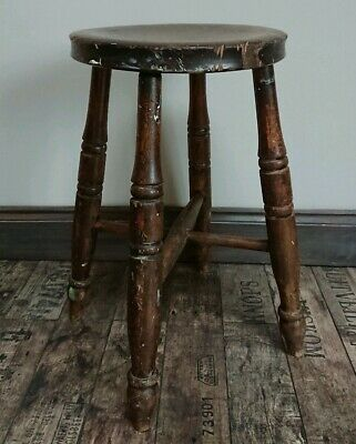 Antique country artist wooden kitchen stool Seat Chair Victorian chippy original