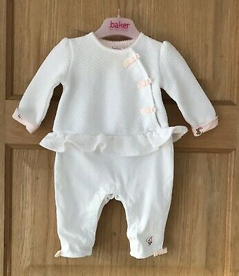 TED BAKER *3-6m NEXT BABY GIRLS PINK WHITE DESIGNER ROMPER OUTFIT 3-6 MONTHS
