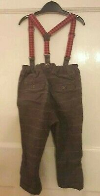 Boys kids NEXT trousers with braces 12-18 months, 1-2 years, wedding, funky