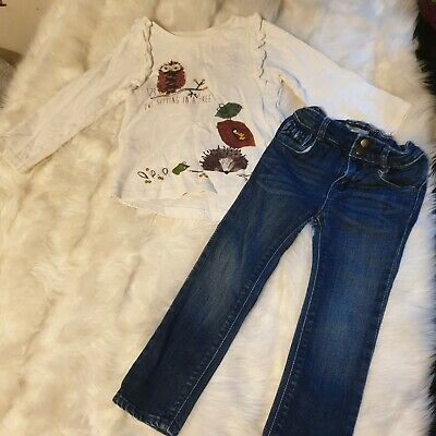 Girls 2-3 years Bundle owl hedgehog top bow skinny jeans trousers outfit Next Da