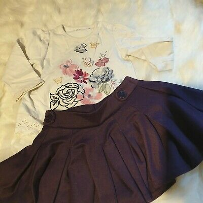 Girls 9-12 Months floral long sleeve Top & skater Skirt outfit bundle Next day