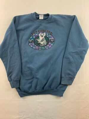 San Diego Zoo Gildan Mens Sweatshirt Blue Long Sleeve Crew Neck Fleece Lined M