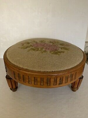 VINTAGE ROUND FRENCH FOOT STOOL W/NEEDLE POINT 100% Wood