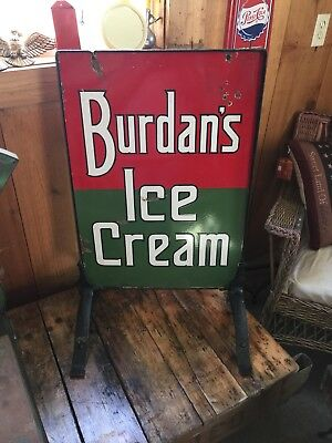 Antique Rare Double Sided Burdans Ice Cream Sign With Cast Iron Stand.