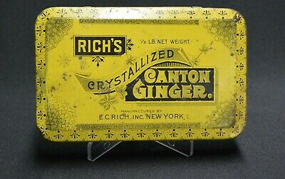 Vintage Rich's Canton Crystallized Ginger Hinged Tin Stash Box Storage Patina