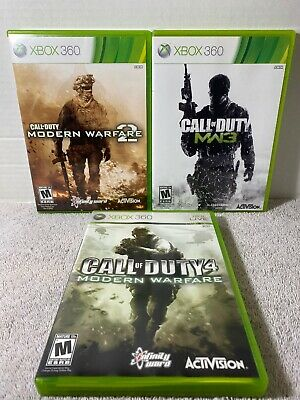 Call of Duty Modern Warfare 1 2 & 3 Trilogy Xbox 360 Complete Tested Lot Set M