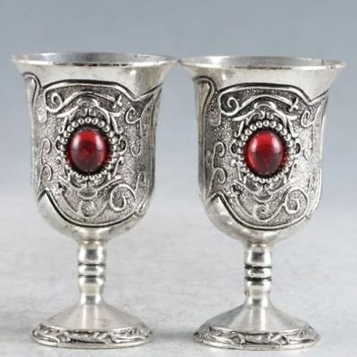 A Pair Of Chinese Exquisite Silver Handmade Cup