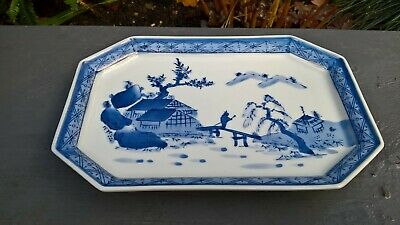 Chinese blue and white dish with makers signed mark to base lovely item