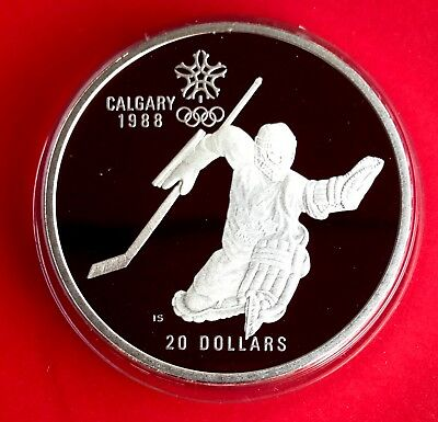 1988 (1986) $20 Calgary Olympic Sterling Silver Coin ( 1oz ASW) - Hockey