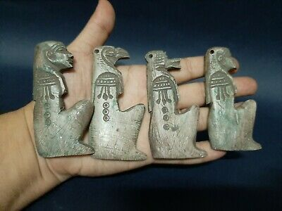 Rare ANCIENT EGYPTIAN ANTIQUES 4 AMULET Amuletic Figure Pendant Stone 1299 BC