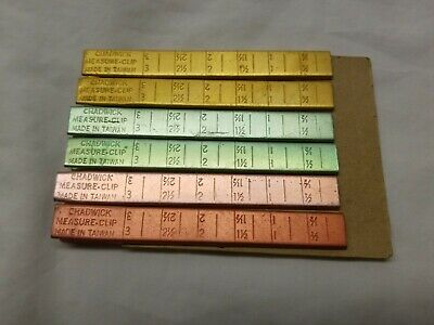 """6 - Vintage Aluminum Chadwick Measure Clip Hemmer - Sewing Aid - 4"""" x 1/2"""""""
