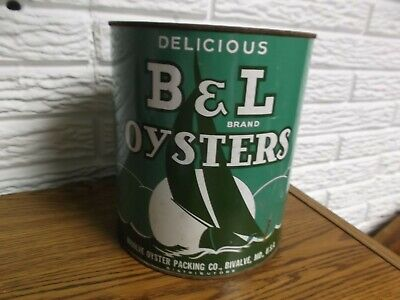 Delicious B & L Brand Oyster One Gallon Tin/Can ~ Bivalve,MD ~ Great Colors