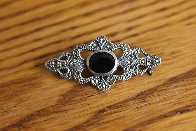 Vtg 925 Sterling Silver Marcasite and Black Onyx Bar Pin Brooch