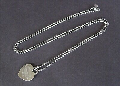 """Return to Tiffany & Co Sterling Silver 34"""" Bead Chain Heart Tag Necklace  Box"""