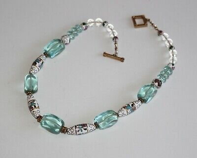 Vntg Chinese Cloisonne Enamel, Blue & Clear Crystal Beads Beaded Strand Necklace