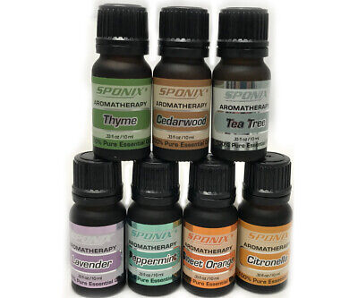 Top Essential Oil Gift Set of 7 Aromatherapy Oils Therapeutic Grade 10 ml