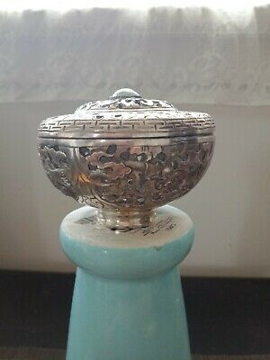 Old Chinese Sterling Silver Export Pierced Round Box With jade