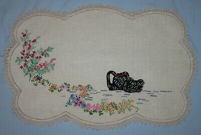 Large Vintage Embroidered Doily ~ Black Swans And Flowers