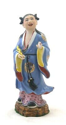 Chinese Qing Famille Rose Porcelain Bisque Girl Figurine Hand Painted Enamel b