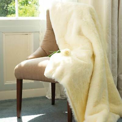 Extra Large King Size Buttermilk Faux Fur Mink Throw Fleece Blanket L210 x W15cm