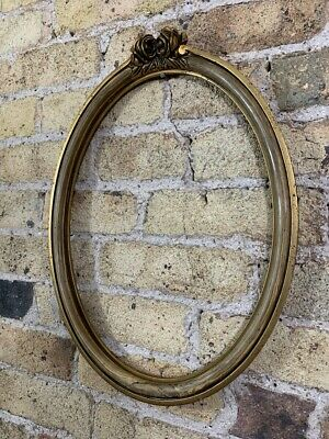 Antique Oval Gold Gilt & Gesso Ornate Detail Wooden Picture Frame French Medium
