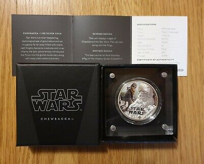 Star Wars The Last Jedi Niue 1 oz moneda de plata Chewbacca 2017